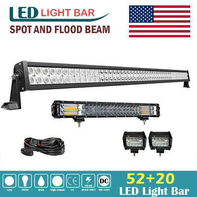 52inch+20'' Tri-row LED Work Light Bar Combo Offroad Driving Lamp Car Truck Boat