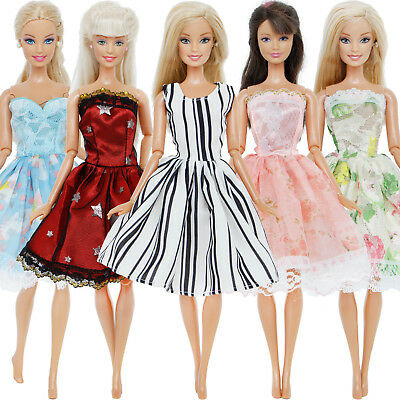 5 Colorful Mini Dress Wedding Party Accessory Clothes For 12 in. Doll Xmas Gift