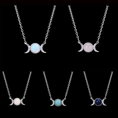 Vintage Triple Moon Goddess Natural Stone Pendant Necklace Jewelry Gift LG