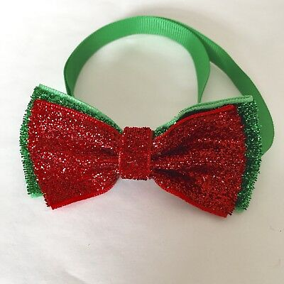 Christmas X'mas dog Cat Pet Adjustable Glitter Bow Tie Necktie Collar Party