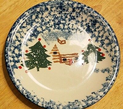 """Folk Craft by Tienshan """"Cabin in the Snow"""" Salad Plates!  Lot of Six (6)!"""