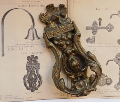 Antique door knocker victorian ornate cast bronze, in the Sargent 1874  catalog - ANTIQUE DOOR KNOCKER Victorian Ornate Cast Bronze, In The Sargent