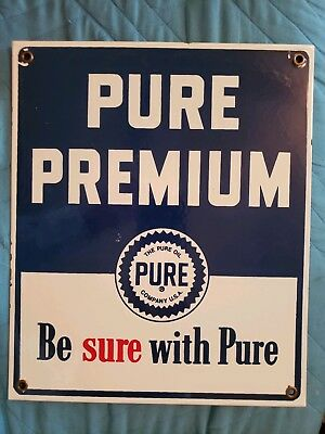Pure Premium Gasoline And Oil General/store Advertising Porcelain Sign