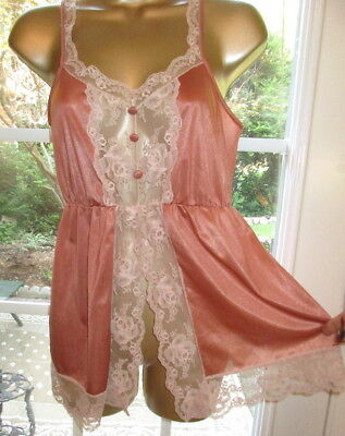 Vtg Lingerie Babydoll Negligee Coral Sexy Sheer Lace Shorty Nylon 1960s Small
