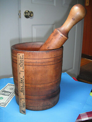 Kitchen Antique Wooden Mortar and Pestle Herbs crusher