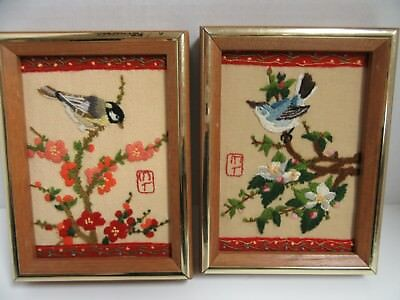 2 Finished Crewel Embroidery Jiffy Apple Blossoms Asian Design Birds Completed