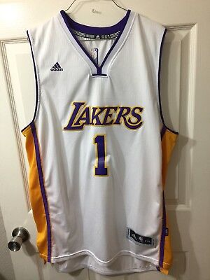 Authentic Adidas LA LAKERS #1 Russel stitched basketball white jersey XXL +2