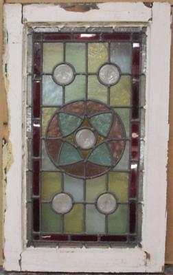 "VICTORIAN ENGLISH LEADED STAINED GLASS WINDOW Stunning Geometric 15.5"" x 25.5"""