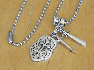 Medieval Knight/Game of Thrones Pendant Necklace Silver-Tone Sword/Shield Men's+