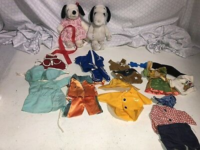 Vintage 2 Peanuts Snoopy Belle Plush Dog Lot Of Outfits, Clothes Accessories