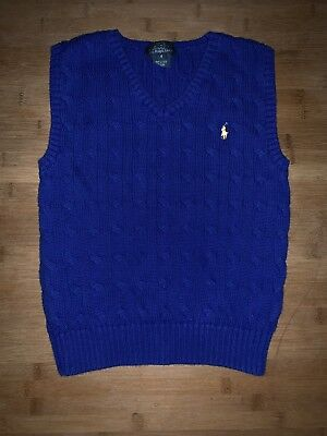Boy's 6 Polo Ralph Lauren Cable Knit Blue Yellow Pony Cotton Sweater Vest EXC
