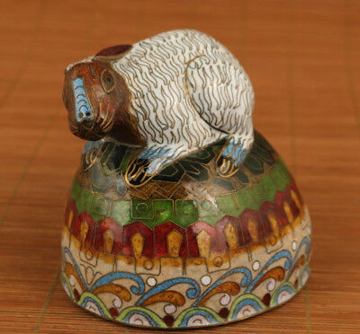 unique chinese old cloisonne hand carved rabbit statue collectable