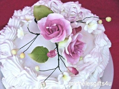 FREE SIPPING Gum Paste Mauve Pink White Roses Sugar Cake Decorating Flowers