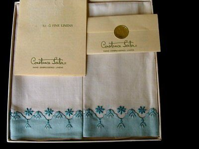 GORGEOUS  PR Vintage CONSTANCE LEITER Madeira Linen Towels Hand Embroidered