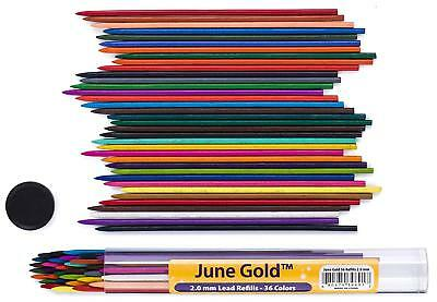 36 Pieces Assorted Colored Lead Refills 20mm Extra Bold 90mm Tall PreSharpened