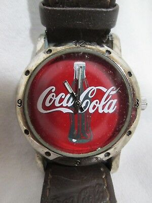 Coca-Cola Red Face Brown Leather Band Wrist Watch