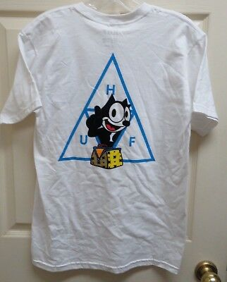 Huf x Felix the Cat Triangle T-Shirt Men's S Screened/Flocked NWOT