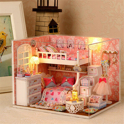 DIY Wood Dollhouse miniature with Furniture Doll house room Angel Dream Kits