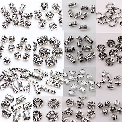 20/50/100x Tibetan Silver Metal Loose Tube Spacer Beads Jewelry Making Charms SD
