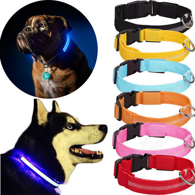 2018 LED Dog Pet Collar Flashing Luminous Adjustable Safety Light Up Nylon Tag