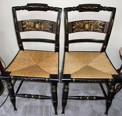 2 Vintage Hitchcock Side Dining Chairs Black Stenciled Rush Seats Tight & Sturdy