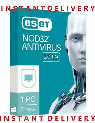 INSTANT Eset NOD 32 Antivirus 2019- 2 Year 1 Pc  Activation Code License Key
