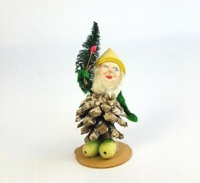 Vtg West Germany Pine Cone Elf Gnome Santa Chenille Pipe Cleaner Spun Cotton