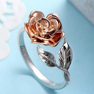 Fashion Adjustable Rose Flower Leaf Open Ring Women Party Jewelry Band Striking