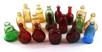 Wheaton Glass Company 17 Green Red Amber Blue Colored Small Size Bitters Bottles