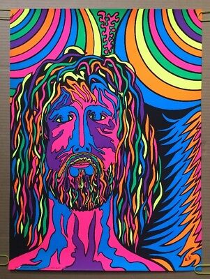 Vintage Double Sided Poster Op Sun Psychedelic Reward Jesus Christ pin-up 70/'s