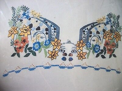 """2 kits Stamped Xstitch Betsy Ross """"FRENCH COUNTRY GARDEN"""" pillowcases & scarf"""