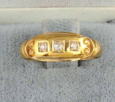 Antique Edwardian 18Ct Gold Ring With Three Small Diamonds c 1906
