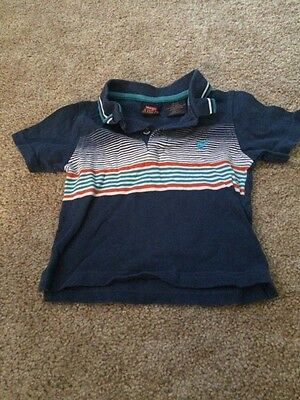 Wrangler Jeans Toddler Boys Blue White Orange Striped Polo Top 18 Months