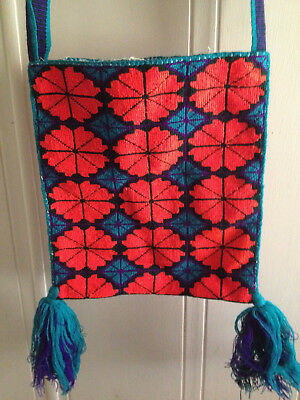 Huichol embroidered bag from Mexico