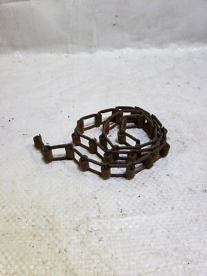 "Vtg  37"" Rusty Iron Square Link  Machinery Chain Industrial Metal Old Barn Find"