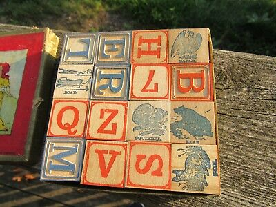 Antique Toy Wood Alphabet Blocks In The Original Box By The Embossing Co. Usa