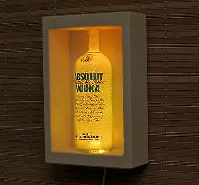 Absolut Vodka LED Sconce Wall Mount Remote Color Changing Bottle Lamp Bar Light