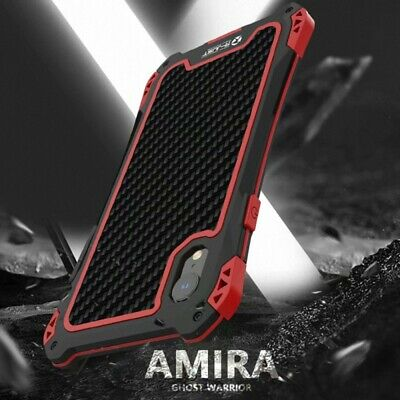 R-JUST Waterproof Carbon Fiber Metal Hybrid Case Cover For iPhone Xs Max XR 7 8+
