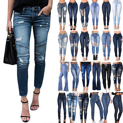 Womens High Waisted Skinny Ripped Denim Casual Pants Slim Pencil Jeans Trousers