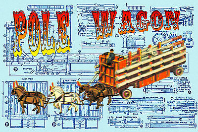 1/16 Scale MODEL CIRCUS PLANS POLE WAGON & HORSE BUILDING NOTES & Printed PLANS