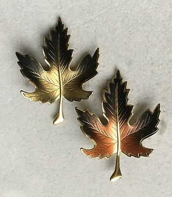 Pair of Vintage Gold Tone Two-Tone Enamel Maple Leaf Brooches  S122618