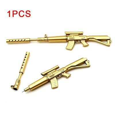 Gold Rifle Shape Black Ink Ballpoint Pen Stationery Office Ball Point Novelty UP