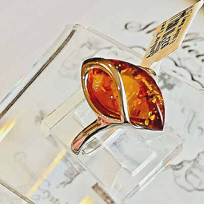 Genuine Russian Baltic Amber Ring S.,7 3/4 Butterscotch Egg Yolk Vintage Polish