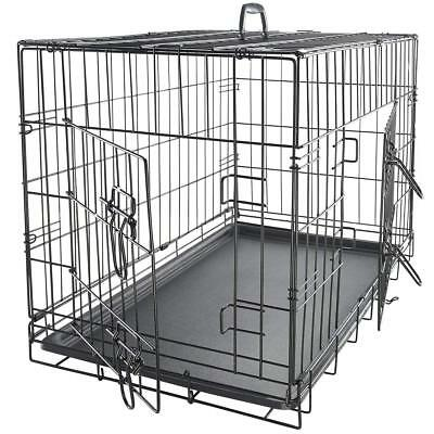 Pet Dog Cat Crate Kennel Training Bed Pad Cushion House Kit Playpen Double Door