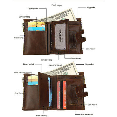 Men's Wallet Genuine Leather Zipper Coin Trifold Card Pouch Holder Slim Purse CA