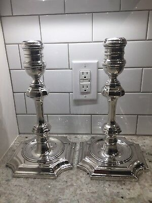 "CHELSEA HOUSE 1984 Silverplate 13"" Candlestick Pair Heavy Excellent Condition"