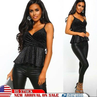Women Sexy V Neck Spakly Slim Fit Cami Tops Bodycon Swing Shirt Vest Tank Blouse