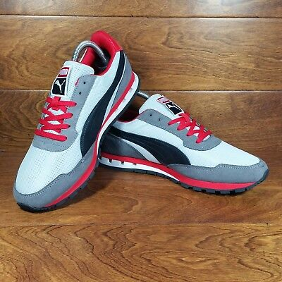 Puma Kabo Runner (Men s Size 8.5) Athletic Casual Sneaker Shoes Gray Black  Red 241b2d3a13