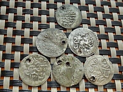 Lot Of 6 Authentic Islamic Ottoman Silver Coins 1 Para 1203 Ah Sultan Selim Iii.