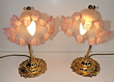 Pair of Edwardian Style Desk/Side Table Brass Lamps With Crimped Edge Shades
